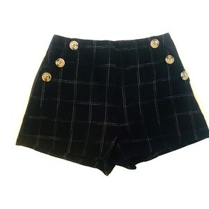 Lush Plaid Button High-Rise Shorts